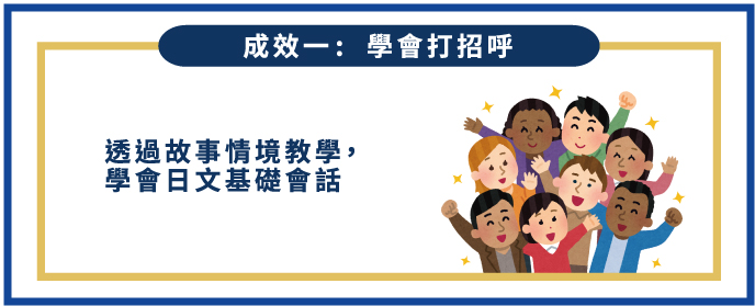 群筑兒童日語夏令營成效一:學會打招呼-透過故事情境教學,學會日文基礎會話